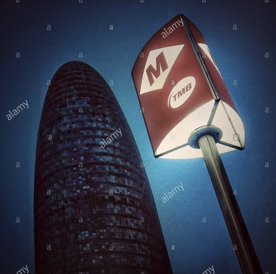 Barcelona underground sign and Agbar tower, Catalonia, Spain, Europe © Queralt Sunyer