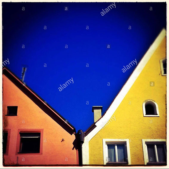 Colorful facades in the city center if Füssen in Allgäu, Bavaria, Germany, Europe stock photography