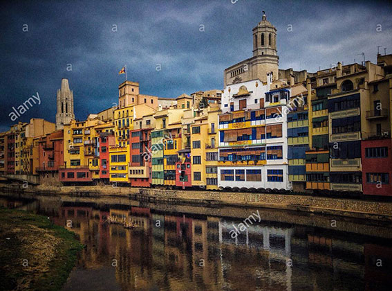 Old riverside buildings in the city of Girona, Catalonia, Spain, Europe stock photography