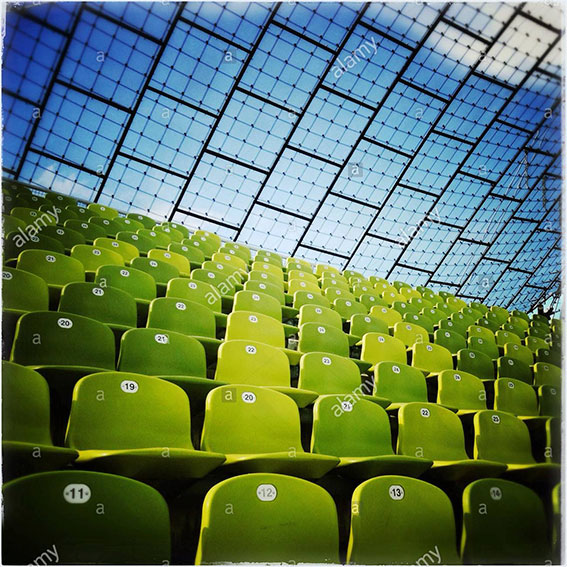 Row of seats in the Olympic Stadium in Munich, Bavaria, Germany, Europe stock photography