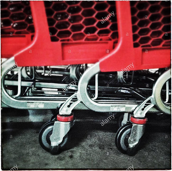 Supermarket shopping carts stock photography
