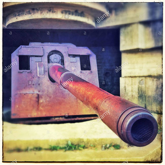 The gun batteries of the Atlantic Wall, Longues sur Mer, France, Calvados. Faces in objects stock photography