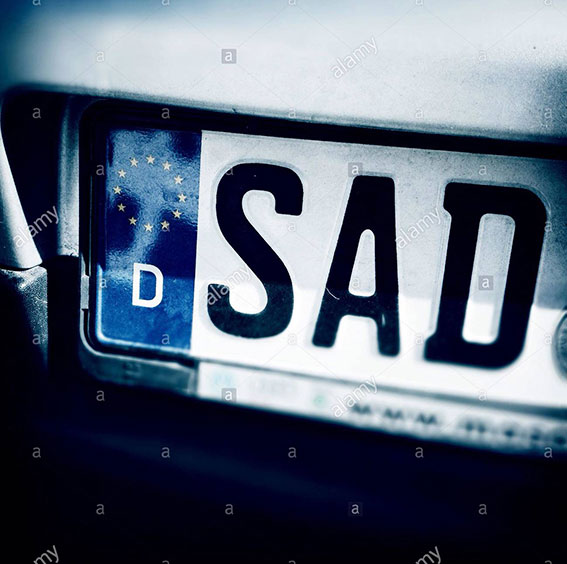 Sad letters. License plate of Schwandorf, Bayern, Germany, Europe stock photography