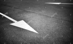 Painted opposite white arrow sign on asphalt © Queralt Sunyer