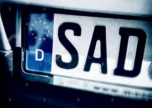 Sad letters. License plate of Schwandorf, Bayern, Germany, Europe © Queralt Sunyer